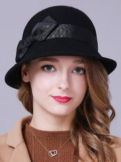 Bow Band Felt Bucket Hat - Black