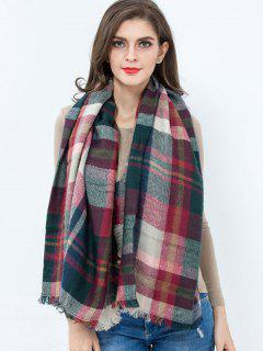 Plaid Fringed Square Scarf - Dark Red