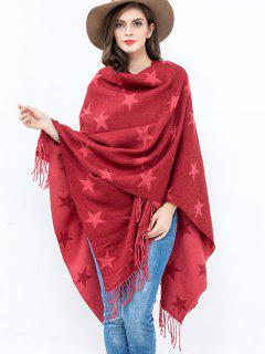 Five-Pointed Star Tassel Shawl Pashmina - Red