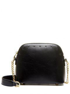 Hollow Out Chain Star Crossbody Bag - Black