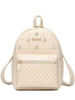 Flowers PU Leather Rivets Backpack - Off-white