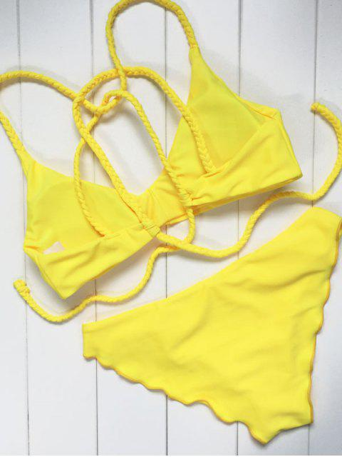 shop Braided Swimming Bikini Set - YELLOW L Mobile