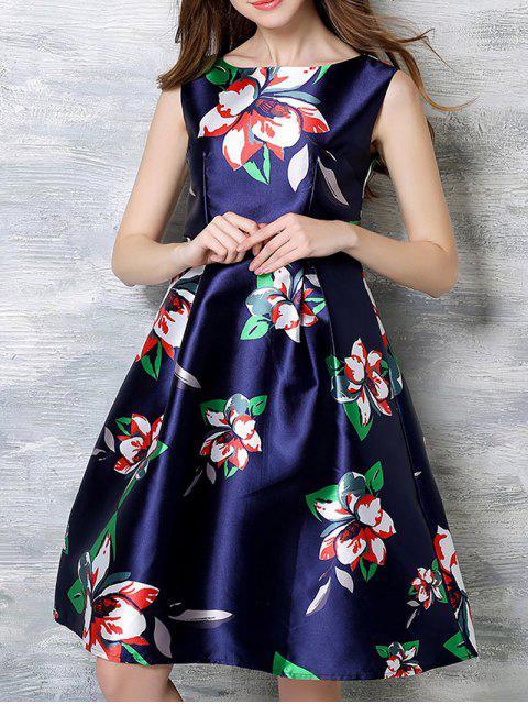 buy Sleeveless Printed Midi Dress - BLUE S Mobile