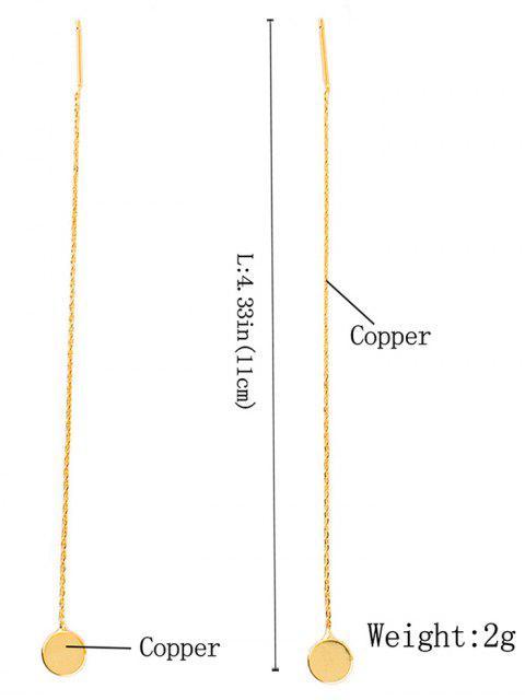 fashion Long Chain Disc Ear Threads - GOLDEN  Mobile