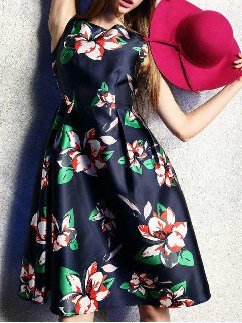 womens Pleated Flared Midi Dress - DEEP BLUE L Mobile