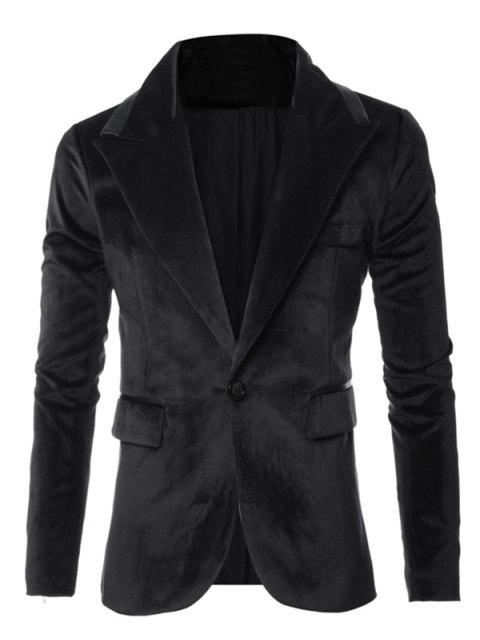Cuero Diseño de tuberías de un solo botón de manga larga de terciopelo Blazer - Negro M Mobile