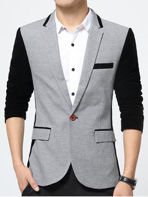 Empalme de color bolsillos con solapa de la solapa de la chaqueta de manga larga - Gris M Mobile