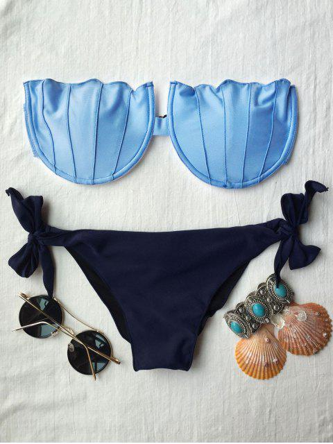 hot Padded Strapless Bikini Set - BLUE L Mobile