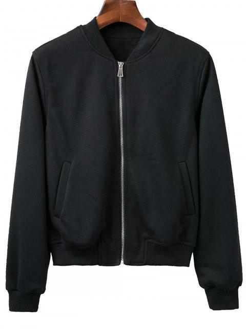 ladies Zip Up Fitting Stand Neck Long Sleeve Jacket - BLACK M Mobile