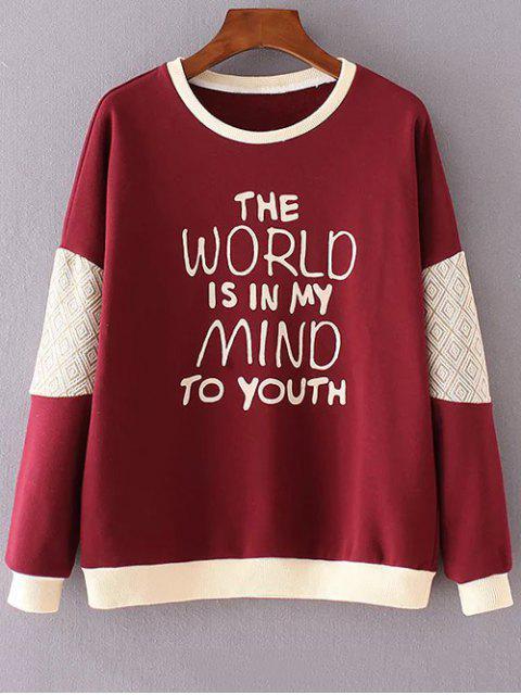 Carta de impresión cuello redondo de la camiseta de manga larga - Rojo L Mobile