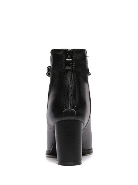 trendy Pointed Toe Chains Chunky Heel Ankle Boots - BLACK 39 Mobile