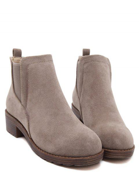 shop Flock Round Toe Elastic Band Ankle Boots - CAMEL 39 Mobile