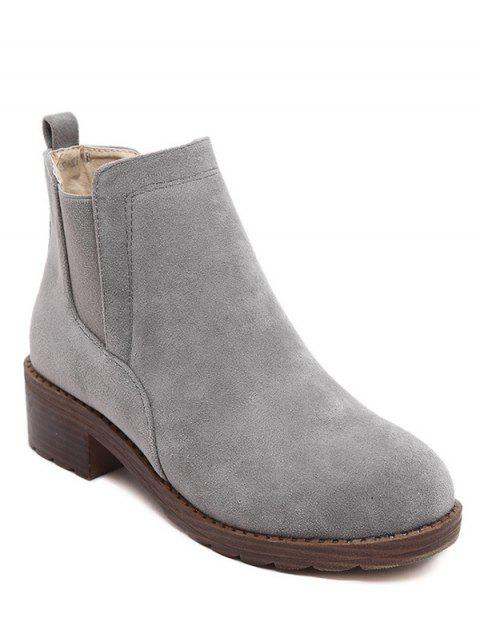 chic Flock Round Toe Elastic Band Ankle Boots - GRAY 38 Mobile