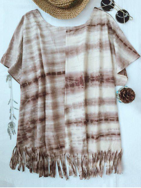 hot Tie-Dyed Round Neck Batwing Sleeve Tassels T-Shirt - COFFEE M Mobile