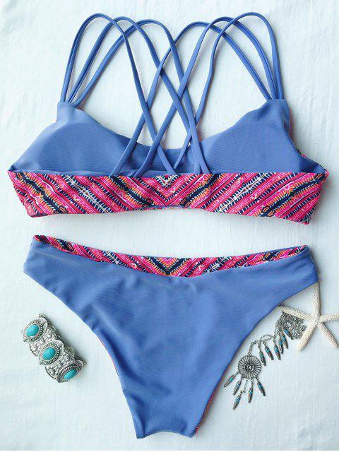 trendy Printed Padded Strappy Bikini Set - LIGHT BLUE L Mobile