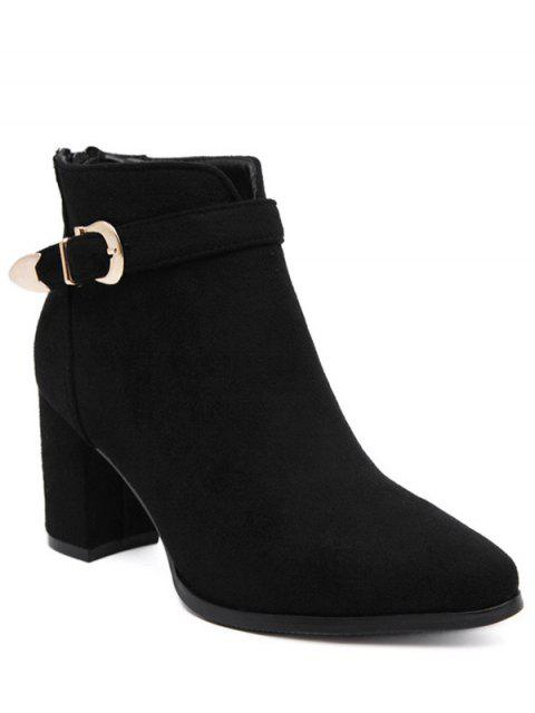 affordable Buckle Zipper Flock Ankle Boots - BLACK 39 Mobile