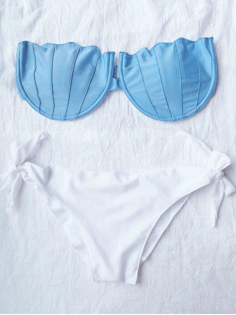 trendy Strapless Padded Elastic Bikini Set - WHITE M Mobile
