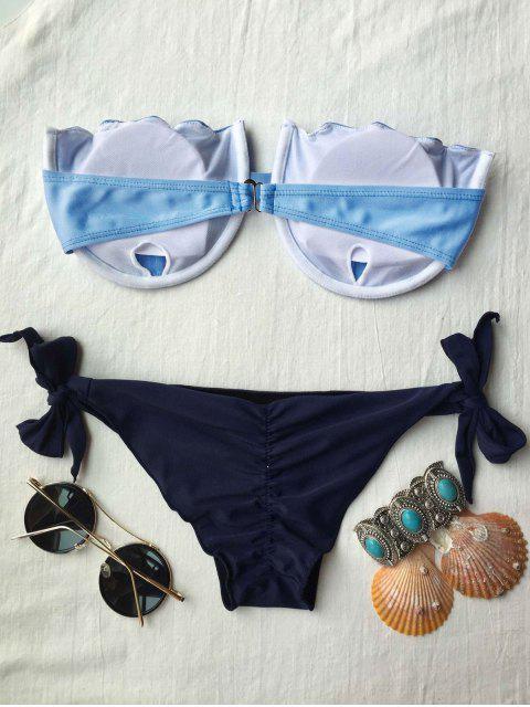 chic Padded Strapless Bikini Set - BLUE M Mobile
