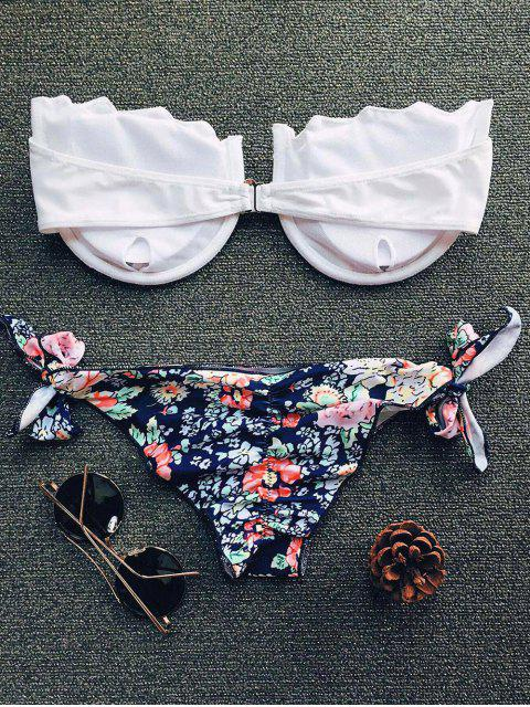 fancy Tiny Floral Print Strapless Padded Bikini Set - WHITE S Mobile
