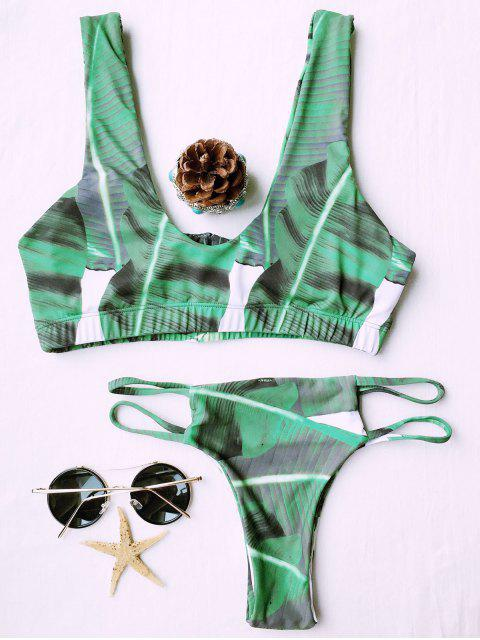 new U Neck Palm Print Bikini Set - GREEN L Mobile