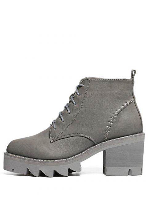 women's Stitching Platform Tie Up Ankle Boots - GRAY 37 Mobile