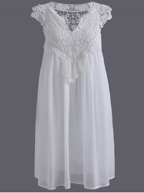unique Plus Size Lace Chiffon Dress - WHITE 5XL Mobile
