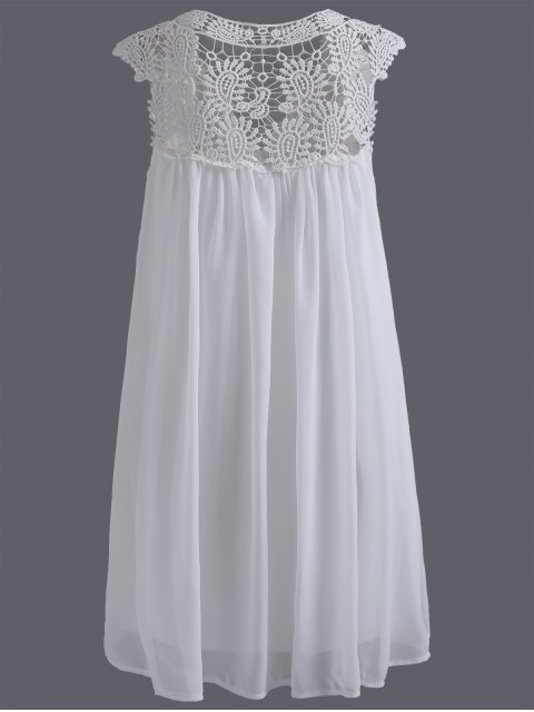 womens Plus Size Lace Chiffon Dress - WHITE XL Mobile