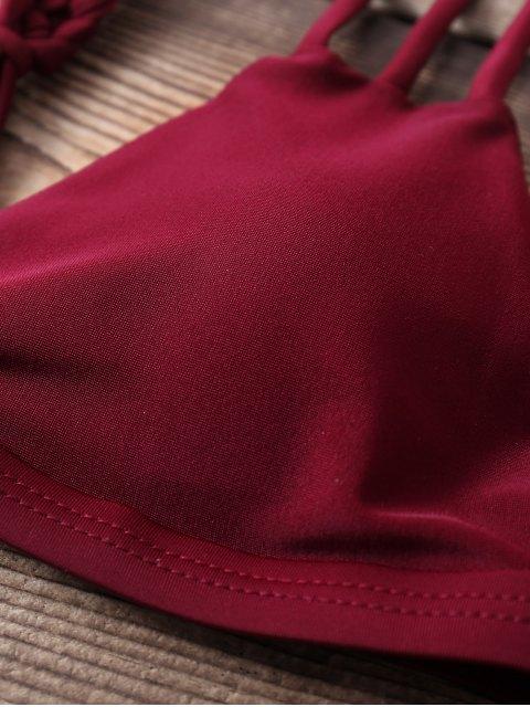 women Weaving Two Piece Bikini Set - WINE RED L Mobile