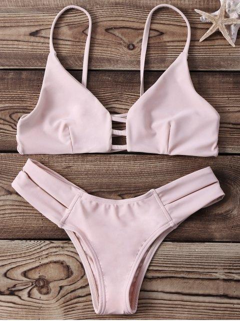 latest Strappy Banded Bikini Set - YELLOWISH PINK S Mobile