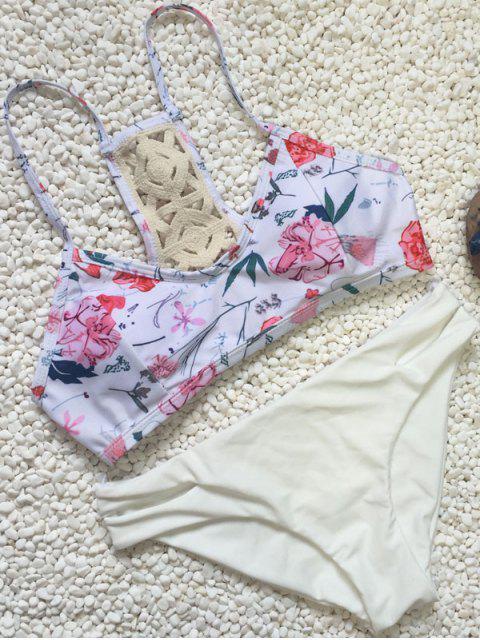 Volver crochet Conjunto floral del bikini - Blanco L Mobile