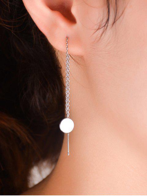 Paire de ronds à longue chaîne Fils d'oreille - Argent  Mobile