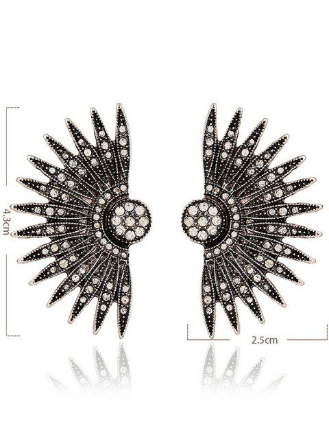 lady Alloy Rhinestone Fan-Shaped Drop Earrings -   Mobile