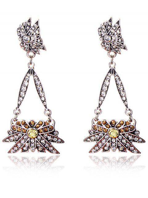 Rhinestoned Floral Triangle Party Boucles d'oreilles Bijoux - Blanc  Mobile