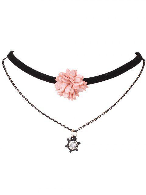 Gargantilla de cuero de imitación de la flor - Negro  Mobile