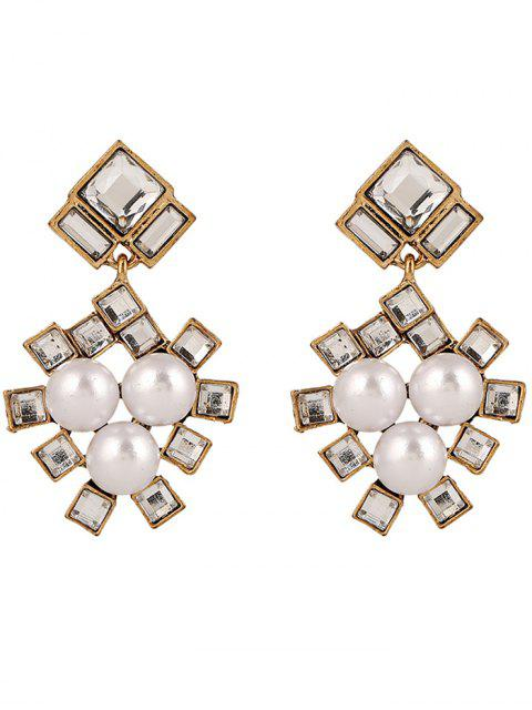 buy Faux Pearl Square Wedding Earrings Jewelry - YELLOW  Mobile