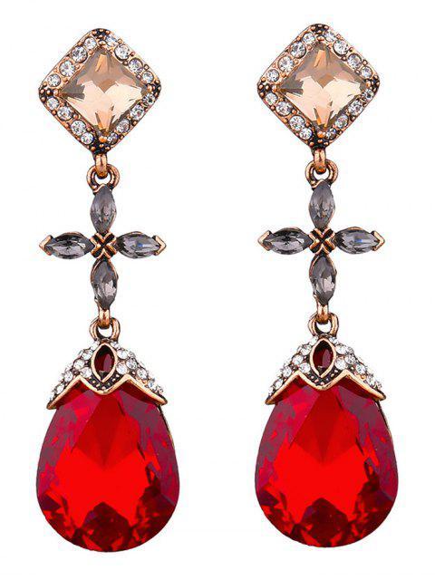 ladies Rhinestone Geometric Cross Water Drop Earrings -   Mobile