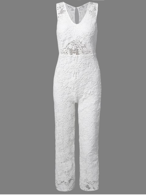 fashion Solid Color Plunging Neck Sleeveless Lace Jumpsuit - WHITE L Mobile