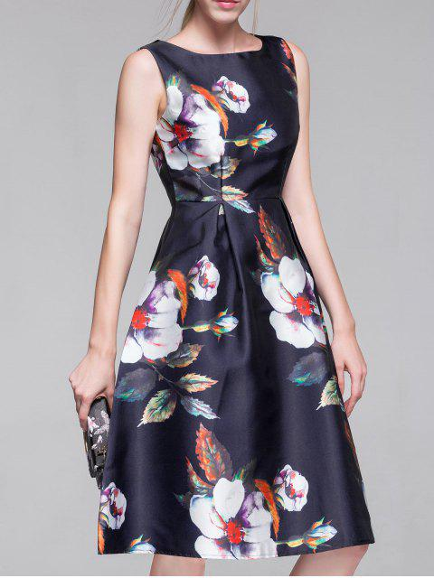 womens Flared Vintage Dress - PURPLISH BLUE S Mobile