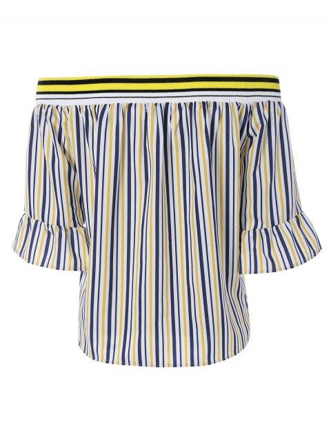 shops Flare Sleeve Off The Shoulder Loose Striped Blouse - YELLOW S Mobile