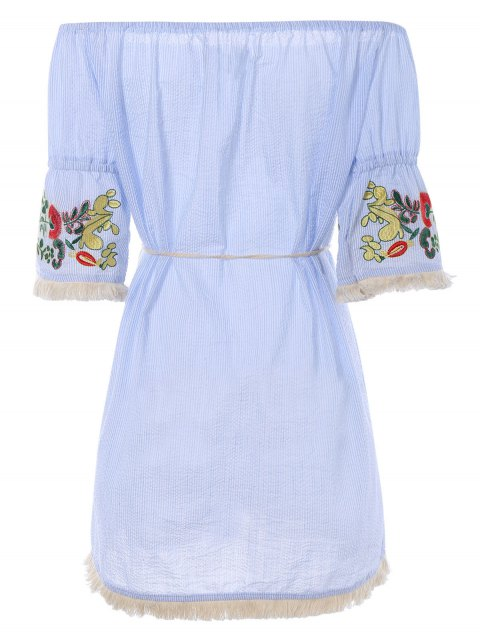 chic Off The Shoulder Striped Embroidered Mini Dress - LIGHT BLUE XL Mobile