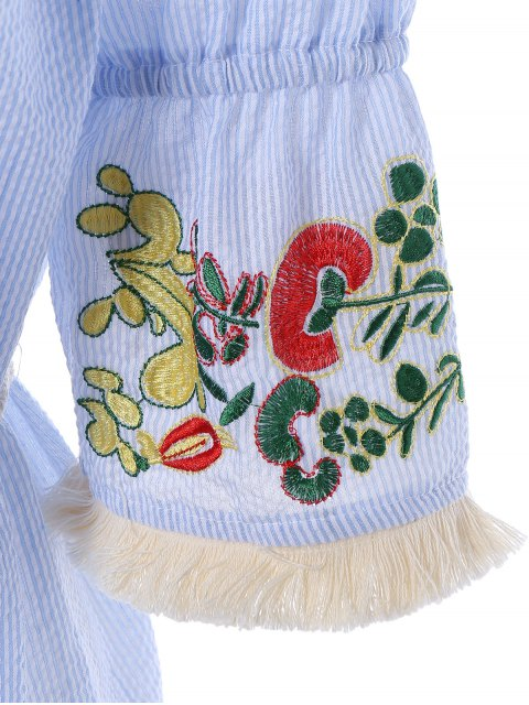 sale Off The Shoulder Striped Embroidered Mini Dress - LIGHT BLUE S Mobile