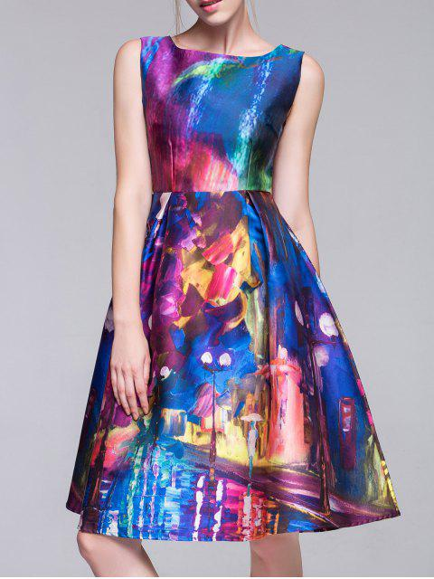 women Random Print Fit and Flare Dress - COLORMIX L Mobile