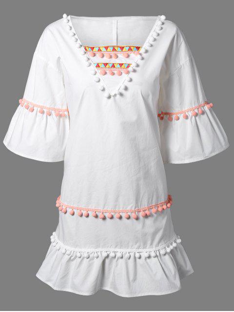 best Pom Pom Embroidery V Neck 3/4 Sleeve Dress - WHITE S Mobile