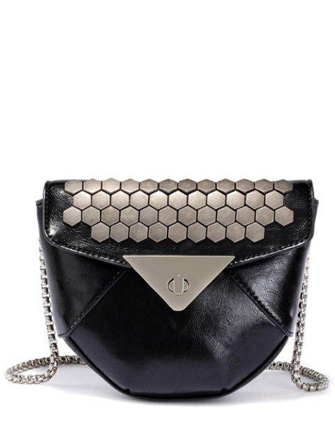 latest Metal Hasp Chain Crossbody Bag - BLACK  Mobile