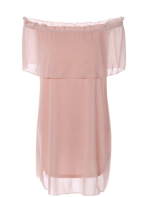 sale Ruffles Off The Shoulder Chiffon Dress - PINK XL Mobile
