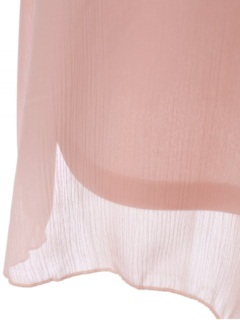 sale Ruffles Off The Shoulder Chiffon Dress - PINK XL Mobile