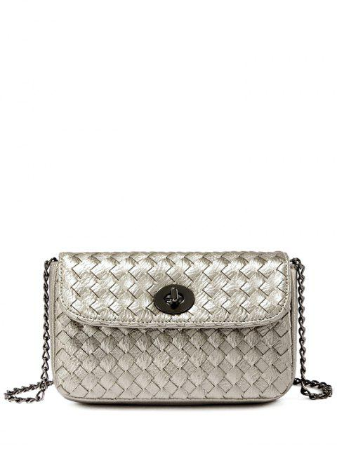 sale PU Leather Chains Woven Crossbody Bag - SILVER GRAY  Mobile