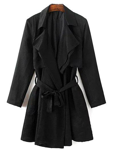 Belted Cape Lapel Neck Long Sleeve Trench Coat - Black M