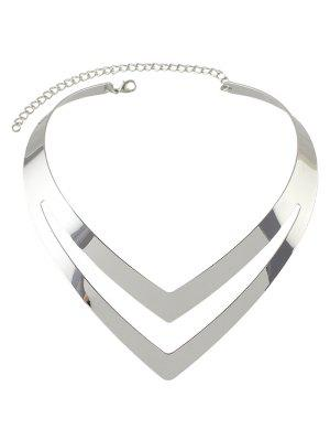 Hollow Out V Shape Necklace - Silver