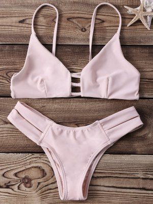 Strappy Banded Bikini Set - Yellowish Pink Xl